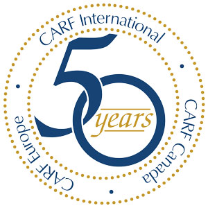 CARF 50th year logo