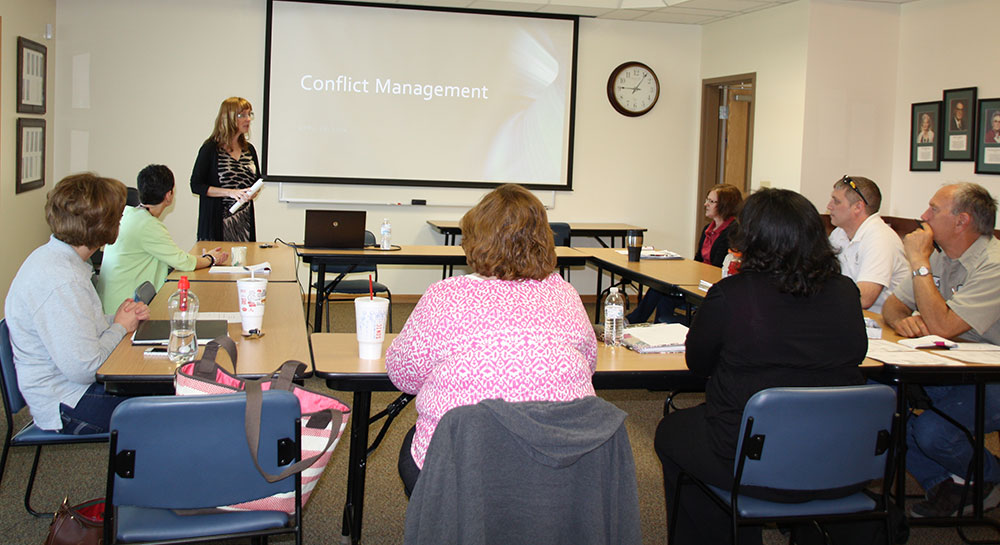 Elaine Horn, past mayor of Sedalia, addresses participants in a Leadership Development Program seminar.